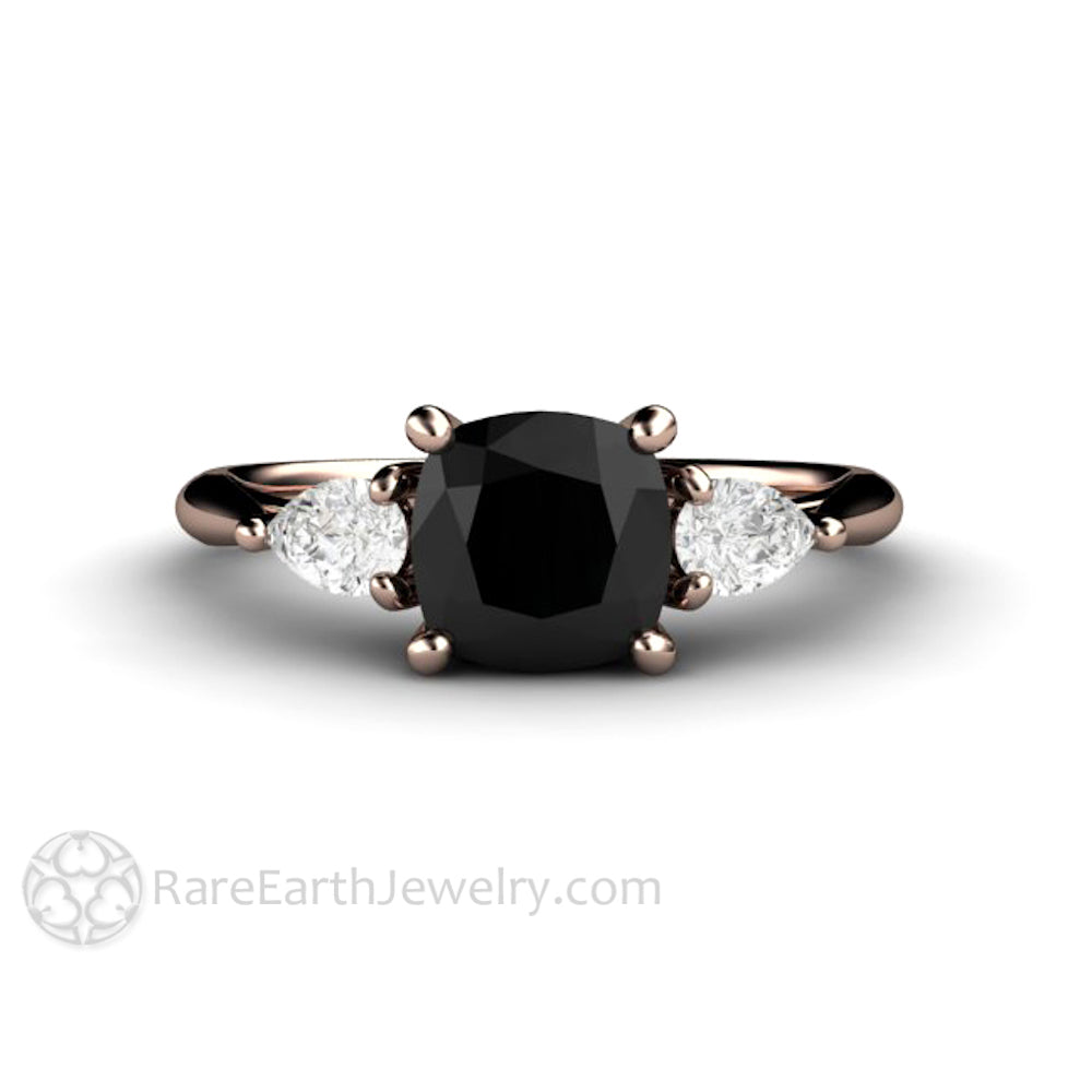 Cushion Cut Black Diamond Engagement Ring 3 Stone With White Sapphires Rare Earth Jewelry