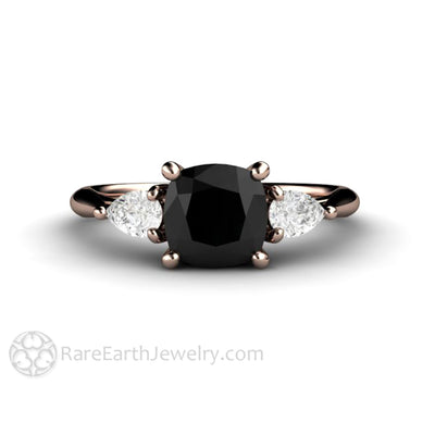 Rare Earth Jewelry Rose Gold Black Diamond Three Stone Ring Cushion Cut with Pear White Sapphires
