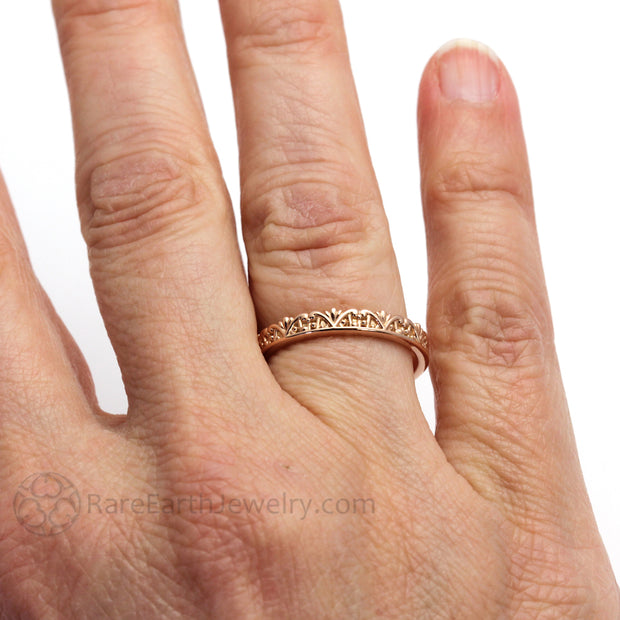 Rare Earth Jewelry Rose Gold Bridal Band Engraved Filigree Art Deco Crown Design on Finger