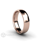 Rare Earth Jewelry Rose Gold Wedding Band 5mm Curved Half Round 14K Classic Ring