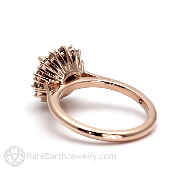 Vintage Inspired Round Cluster Ring in 14K Rose Gold from Rare Earth Jewelry