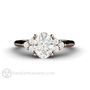 Rare Earth Jewelry Oval Forever One Moissanite Engagement Ring with Diamond Accent Stones 14K Rose Gold