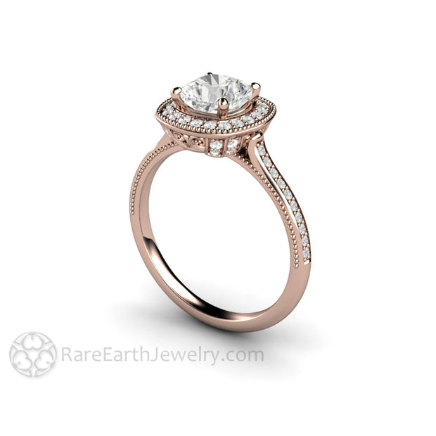 Rare Earth Jewelry 18K Rose Gold Vintage Cushion Cut Forever One Moissanite Halo Engagement Ring Natural Diamond Accent Stones