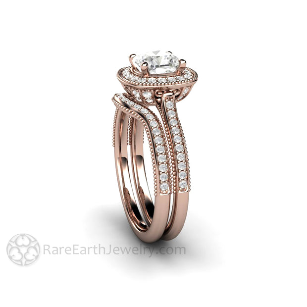 Rare Earth Jewelry Forever One Moissanite Wedding Ring Set 1 Carat Cushion Cut Halo Vintage Style Rose Gold Setting
