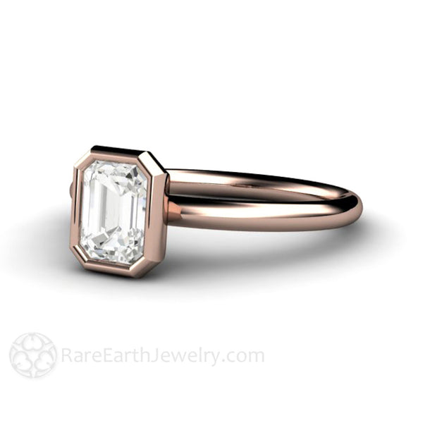 Rare Earth Jewelry Emerald Cut Diamond Ring GIA Certified 14K Rose Gold