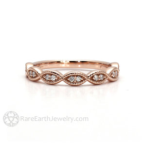 Rare Earth Jewelry Dainty Scalloped Diamond Band with Antique Style Milgrain Details