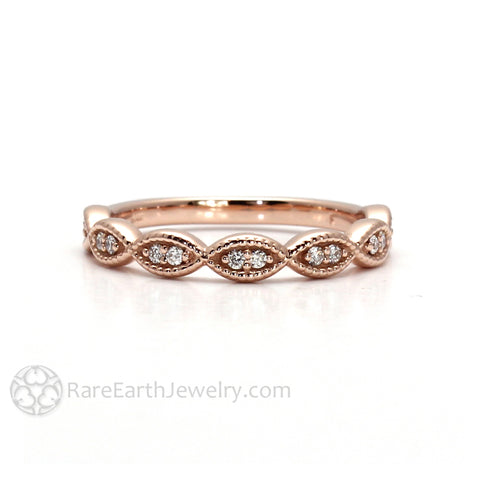 Dainty Scalloped Diamond Band Antique Style with Milgrain