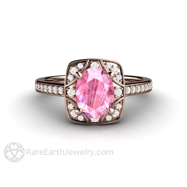 Rare Earth Jewelry Rose Gold Diamond and Pink Sapphire Ring Vintage Antique Design 14K