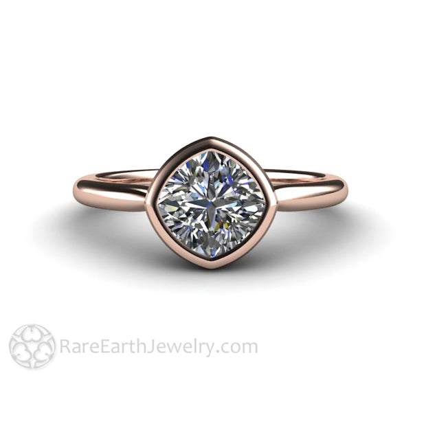 Rare Earth Jewelry Rose Gold Engagement Ring 1.20ct Bezel Set Forever One Moissanite Cushion Cut 18K