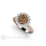 Rare Earth Jewelry Rose Gold Engagement Ring 1.25ct Brown Center with White Moissanite Cluster Halo Conflict Free