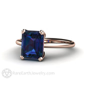Rare Earth Jewelry Rose Gold Engagement Ring 2.75ct Alexandrite Solitaire Emerald Cut 18K