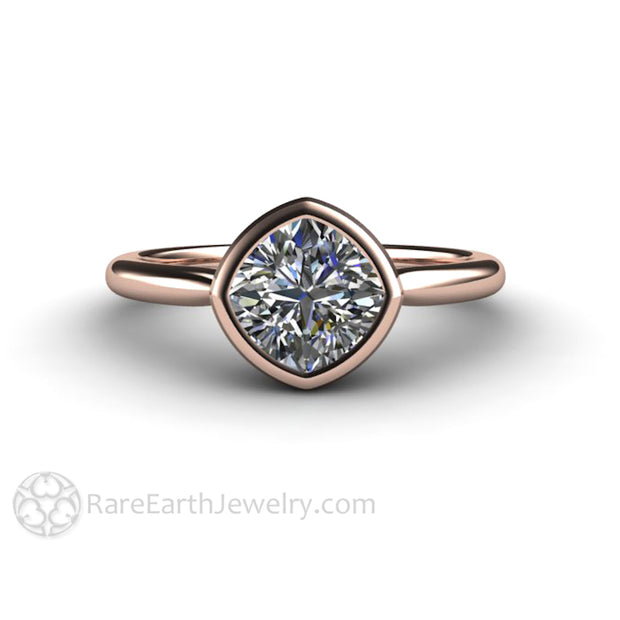 Charles and Colvard Forever One Moissanite Bezel Set Ring in Rose Gold