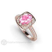Rare Earth Jewelry Rose Gold Engagement Ring Oval Pink Sapphire with Diamonds 18K Art Deco Style Setting
