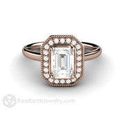 Rare Earth Jewelry Rose Gold Forever One Moissanite Ring Emerald Cut with Diamond Accent Stones
