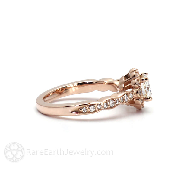 Rare Earth Jewelry Moissanite Engagement Ring with Diamond Scalloped Band 14K Rose Gold