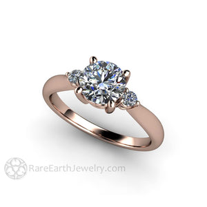 Rare Earth Jewelry Rose Gold Moissanite 3 Stone Engagement Ring 1ct Round Forever One Center with Diamond Accent Side Stones