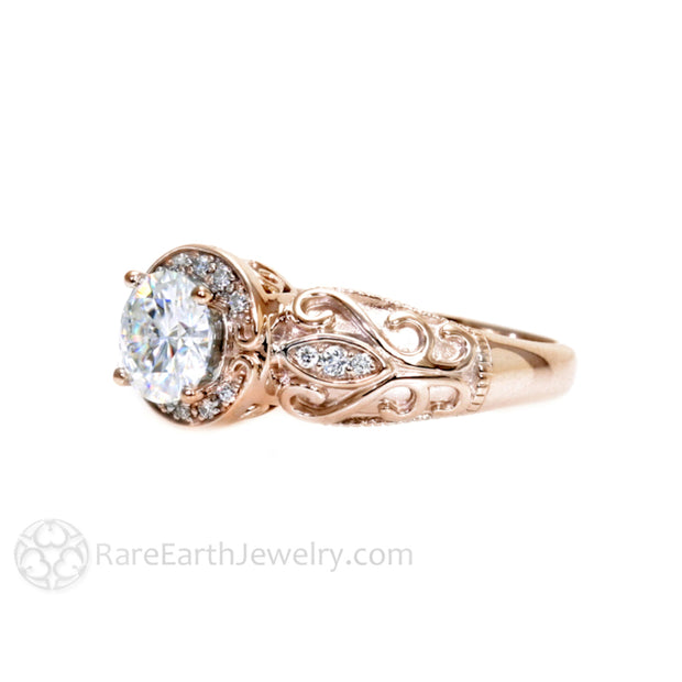 Rare Earth Jewelry Vintage Halo Style Moissanite Engagement Ring 14K Rose Gold