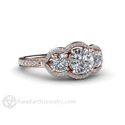 Rare Earth Jewelry Moissanite Engagement Ring 3 Stone Diamond Halo Rose Gold Round Cut Forever One