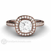 Rare Earth Jewelry Rose Gold Moissanite Engagement Ring Cushion Cut Halo