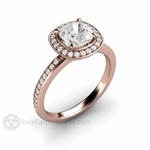 Rare Earth Jewelry 18K Rose Gold Moissanite Bridal Ring Diamond Halo Forever One Cushion