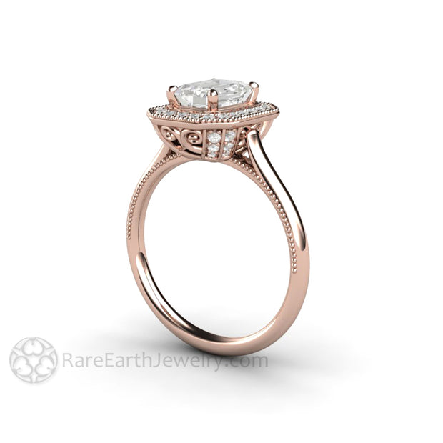 Rare Earth Jewelry Rose Gold Moissanite Wedding Ring Emerald Halo Vintage Setting 18K Diamond Accented
