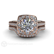 Rare Earth Jewelry Rose Gold Moissanite Wedding Ring Set Art Deco Halo Setting with Diamond Accent Stones