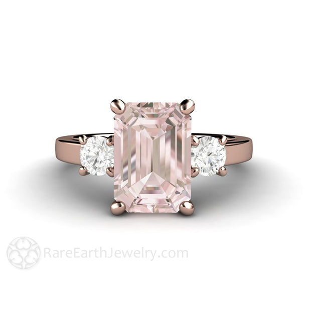 Rare Earth Jewelry Morganite Ring Rose Gold 3 Stone Setting Pink Emerald Cut with Diamonds