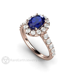 Rare Earth Jewelry Rose Gold Oval Blue Sapphire Ring Right Hand or Anniversary Halo Setting