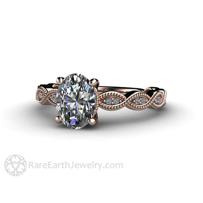 Rare Earth Jewelry Rose Gold Oval Cut Bridal Solitaire Diamond Ring Vintage Milgrain Scalloped Band Conflict Free GIA