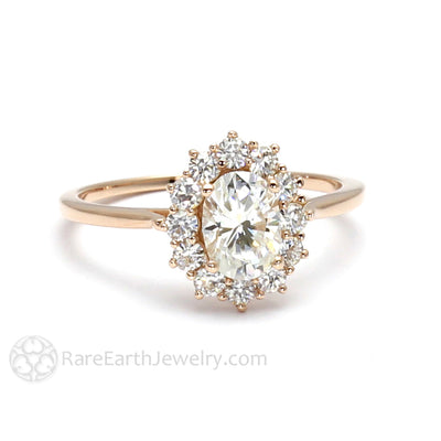 Rare Earth Jewelry Oval Moissanite Wedding Ring Moissanite Halo Engagement 18K Rose Gold