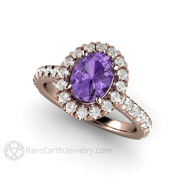 Rare Earth Jewelry Rose Gold Oval Purple Sapphire and Diamond Anniversary Ring 14K Gold