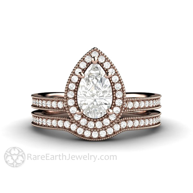 Rare Earth Jewelry Pear Cut 1ct Forever One Moissanite Wedding Ring Set Vintage Style Rose Gold Halo Setting