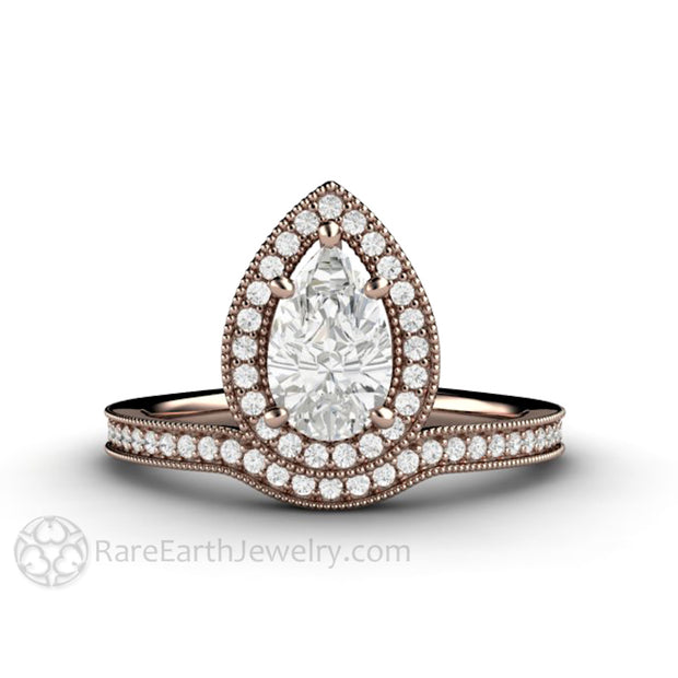 Rare Earth Jewelry 1ct Pear Moissanite Ring Diamond Halo with Milgrain Detail 14K Rose Gold