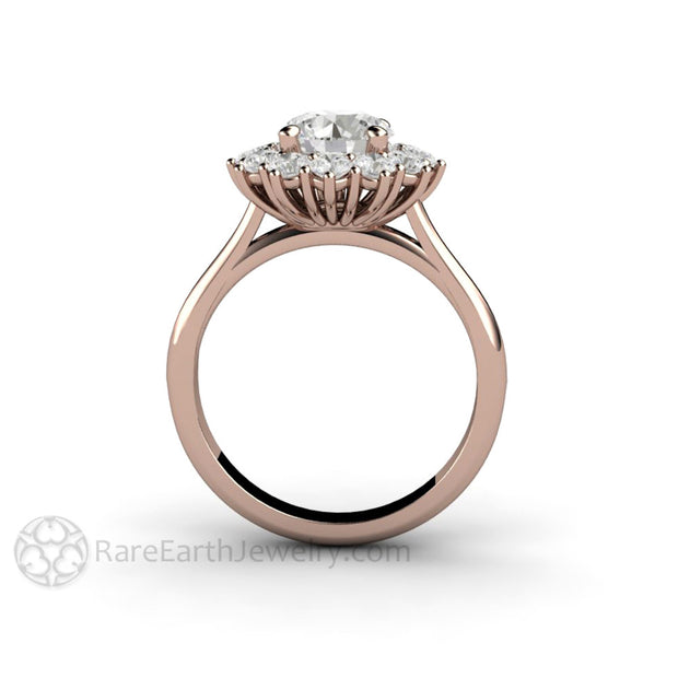 Rare Earth Jewelry Moissanite Wedding Anniversary Ring Rose Gold 7mm Round Forever One