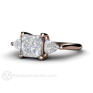 Rare Earth Jewelry Rose Gold Moissanite Wedding Ring Three Stone Setting Princess and Trillion Cut Forever One