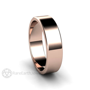 Rare Earth Jewelry Rose Gold Traditional Bridal Ring Comfort Plain Flat Band His and Hers