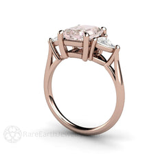 3 Stone Morganite Ring with Sapphire Side Stones