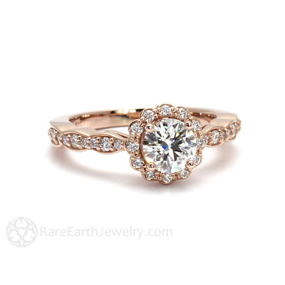 Rare Earth Jewelry Rose Gold Moissanite Ring with Diamonds Vintage Style Halo Round Forever One