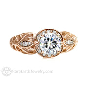 Rare Earth Jewelry Rose Gold Vintage Moissanite Engagement Ring
