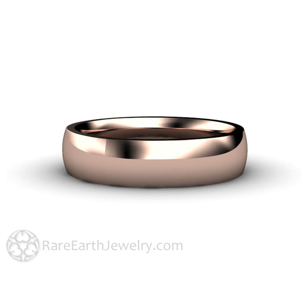 Rare Earth Jewelry Rose Gold Wedding Band 5mm Comfort Fit Traditional Unisex Ring