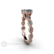 Rare Earth Jewelry Rose Gold Wedding Ring with Oval Cut Diamond Center Stone Beaded Milgrain Detail 1 Carat GIA Certified