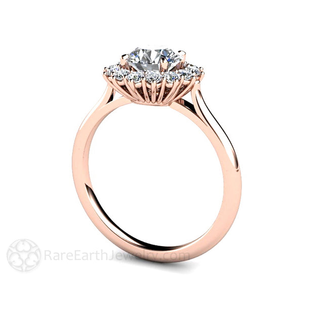 Rare Earth Jewelry Rose Gold Moissanite Wedding Ring 1 Carat Round Cut Diamond Halo Setting
