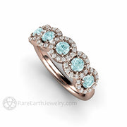 Rare Earth Jewelry Round Cut Aquamarine Stackable Ring Rose Gold 5 Stone Halo Setting
