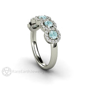 Rare Earth Jewelry Round Cut Aquamarine and Diamond Band 14K 18K or Platinum