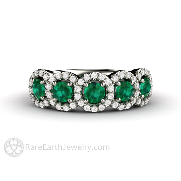 Rare Earth Jewelry Emerald Bridal Band or Anniversary Ring with Diamond Accent Stones