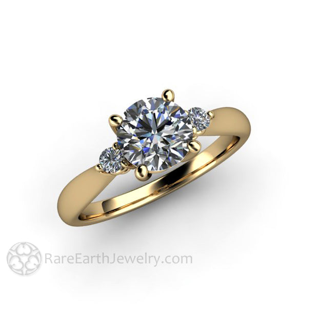Rare Earth Jewelry Round Cut Forever One Moissanite 3 Stone Engagement Ring Diamond Accents 14K Yellow Gold