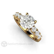 Rare Earth Jewelry Round Cut Forever One Moissanite Solitaire Ring 18K Yellow Gold 4 Prong Setting