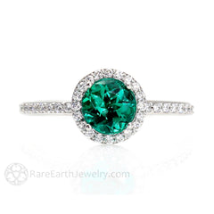 Rare Earth Jewelry 6mm Round Cut Green Emerald Halo Ring May Birthstone