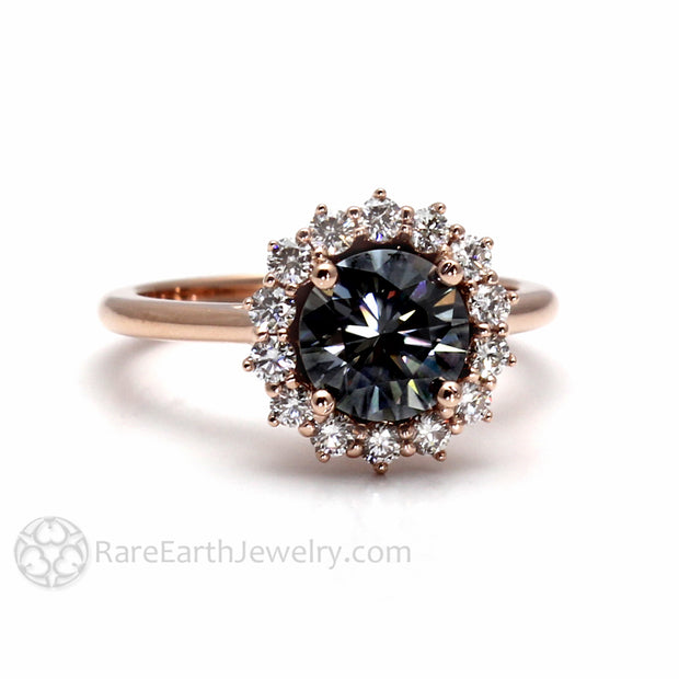 7mm Round Cut Grey Moissanite Ring Conflict Free Diamond Alternative Engagement Ring from Rare Earth Jewelry