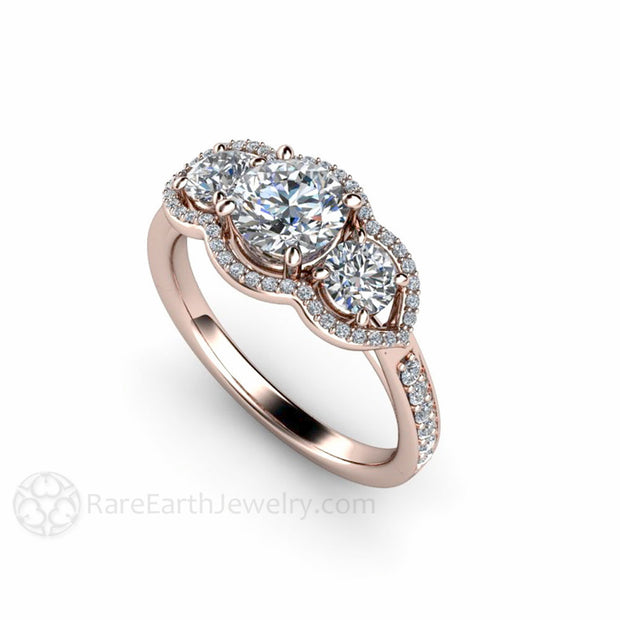 Rare Earth Jewelry Moissanite Halo Bridal Ring 14K Round Cut Vintage Design